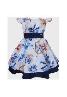 Vestido Katitus Infantil Marinheiro/Florido Azul