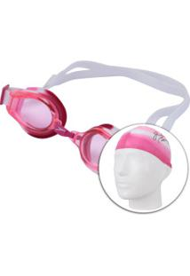 Kit De Natação Speedo Swim 3.0 Com Óculos + Touca - Infantil - Rosa