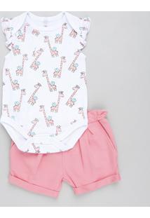 Conjunto Infantil De Body Girafa Sem Manga Branco + Short Em Moletom Rosa