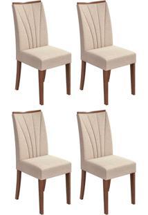 Conjunto Com 4 Cadeiras Apogeu Lll Imbuia E Bege