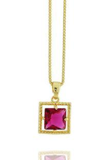 Colar Solitário Quadrado Cristal Rubi Semi Joia D - Feminino-Pink