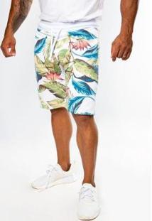 Bermuda Top Fit Moletom Advance Tropical Life Masculina - Masculino-Branco