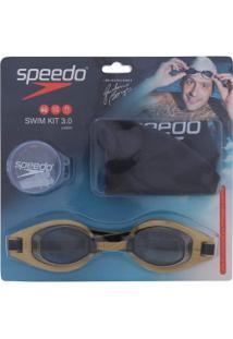 Kit De Natação Speedo Swim 3.0 Com Óculos + Touca + Protetor De Ouvido - Adulto - Ouro
