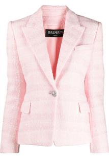 Balmain Jaqueta Slim De Tweed - Rosa