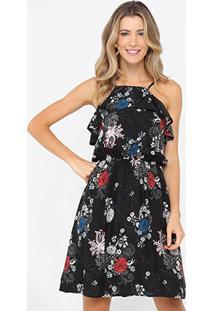 Vestido Lily Fashion Evasê Curto Estampado - Feminino