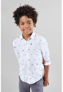 Camisa Mini Pf Ml Nautica Infantil Reserva Mini Masculina - Masculino-Branco