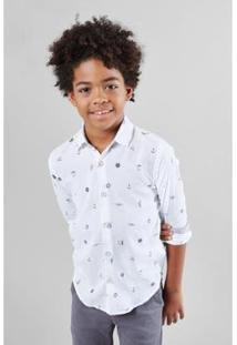 Camisa Mini Pf Ml Nautica Reserva Mini Masculina - Masculino-Branco