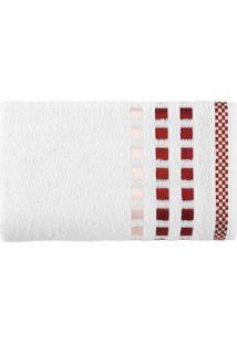 Toalha De Rosto Calera- Branca & Vermelha- 49X70Cm