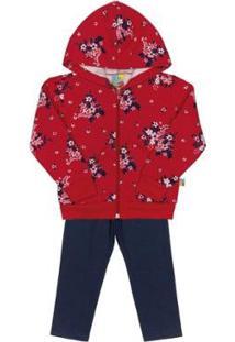 Conjunto Jaqueta E Calça Infantil Moletom Bee Loop Feminino - Feminino-Vermelho Escuro