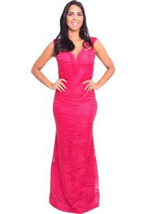 a8d30fd4c3 Vestido Soellas Boutique Longo Bordado Rosa