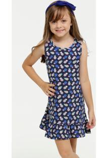 Vestido Infantil Estampa Abacaxi Sem Manga