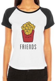 Camiseta Criativa Urbana Raglan Melhores Amigas Friends Frases Batata - Feminino-Branco