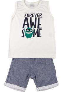 Conjunto Infantil Menino Meia Malha E Moletom Fleece Forever Awesome - Natural 2