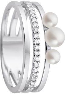 Anel Ouro Branco Pã©Rolas E Diamantes