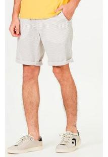 Bermuda Chino Slim Listrada Masculina - Masculino-Cinza