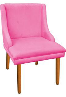 Cadeira Poltrona Decorativa Liz Suede Rosa Barbie - D'Rossi