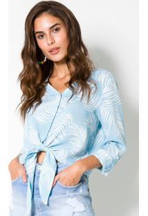Camisa Tecido Plano Azul