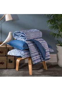 Kit Cobreleito Home Design Queen Akemi - Santista - Azul