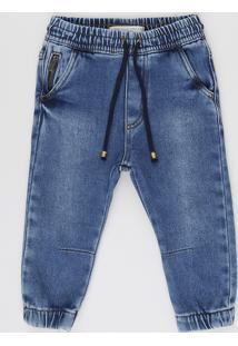 Calça Jeans Infantil Jogger Com Bolsos Azul Claro
