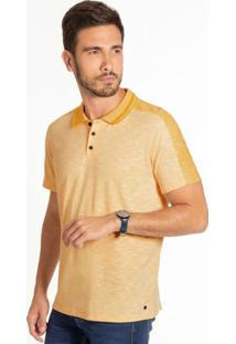Camiseta Polo Em Malha Flamê Amarelo