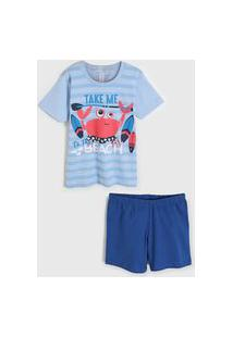 Pijama 2Pçs Malwee Liberta Curto Infantil Azul/Azul-Marinho