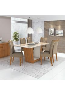 Conjunto De Mesa De Jantar Com 6 Cadeiras Apogeu Suede Off White E Bege