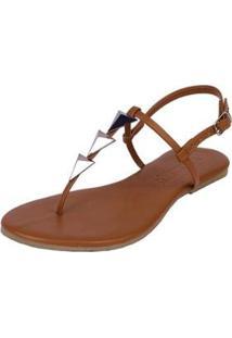 Rasteira Flat Pirâmide Mercedita Shoes Confortável Dia A Dia Casual Feminina - Feminino-Caramelo