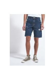Bermuda Slim Jeans Com Rasgos   Blue Steel   Azul   42