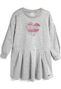 Vestido Colorittá Infantil Coração Cinza