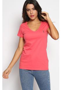 Camiseta Com Bordado- Coral & Azul Marinhoaleatory