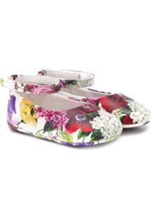 Dolce & Gabbana Kids Sapatilha Floral - Branco