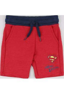 Bermuda Infantil Super Homem Em Moletom Vermelha