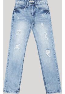 Calça Jeans Juvenil Skinny Com Rasgos Azul Claro