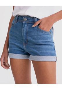 Short Jeans Hot Pants Com Barra Dobrada