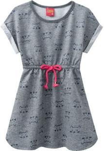 Vestido Infantil - Algodão E Poliéster - Gatinhos - Mescla - Kyly - 1