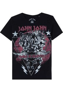 Camiseta John John Tiger Stars Malha Algodão Preto Feminina (Preto, G)