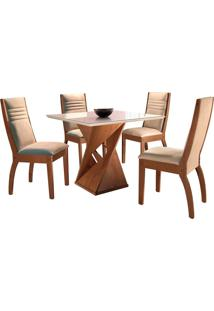 Conjunto De Mesa De Jantar Canyon Com 4 Cadeiras Excelence L Suede Off White E Bege