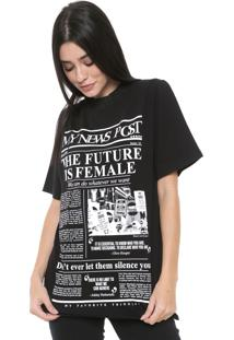 Camiseta My Favorite Thing(S) Gola Tricot Preta