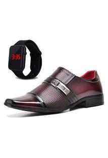 Sapato Social Com E Sem Verniz Com Relógio Led Dubuy 814Mr Vermelho