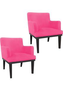 Kit 02 Poltronas Decorativa Vitória Para Sala E Recepção Suede Rosa Barbie - D'Rossi