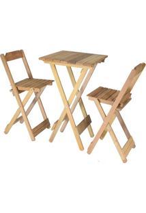 Conjunto Bistrô 01 Mesa Com 02 Cadeiras Dobráveis Em Madeira Itaúba Marcenaria Real Sem Pintura