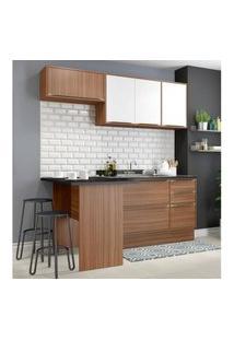 Cozinha Completa Multimóveis Com 5 Peças Calábria 5460R Nogueira/Branco Marrom