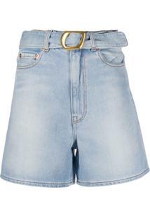 Magda Butrym Short Jeans Com Cinto - Azul