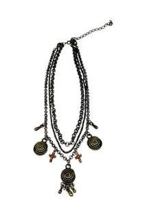 Colar Rabo De Gato Triplo Pingentes Feminino - Feminino-Bronze