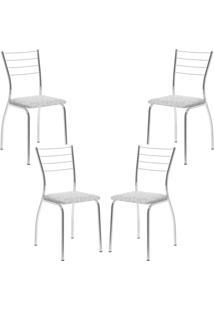Conjunto 4 Cadeiras Tubo Cromado Floral Branco Carraro