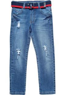 Calça Jeans Azul Cinto Vermelho Mania Kids Azul