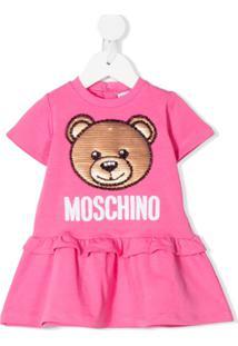 Moschino Kids Vestido Evasê Com Logo E Contas - Rosa