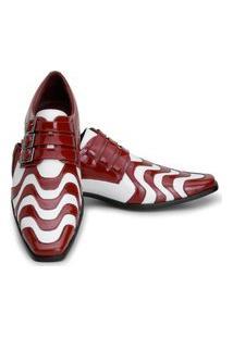 Sapato Social Masculino Vermelho Com Branco Em Couro Gofer 0451