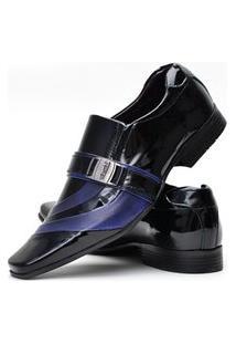 Sapato Social Verniz Venetto Preto E Azul