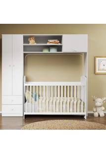 Quarto De Bebê Com Guarda-Roupa E Berço Ciranda 2683Mm Multimóveis Branco